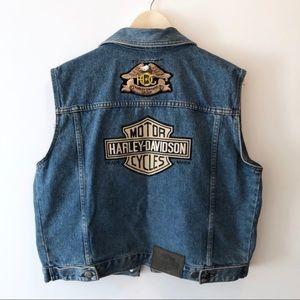 Harley Davidson Denim Vest Patches Women's Sz L